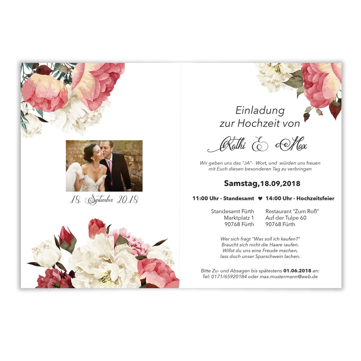 Einladungen Zur Hochzeit Blumen Rosen Klappkarten Einladungskarten