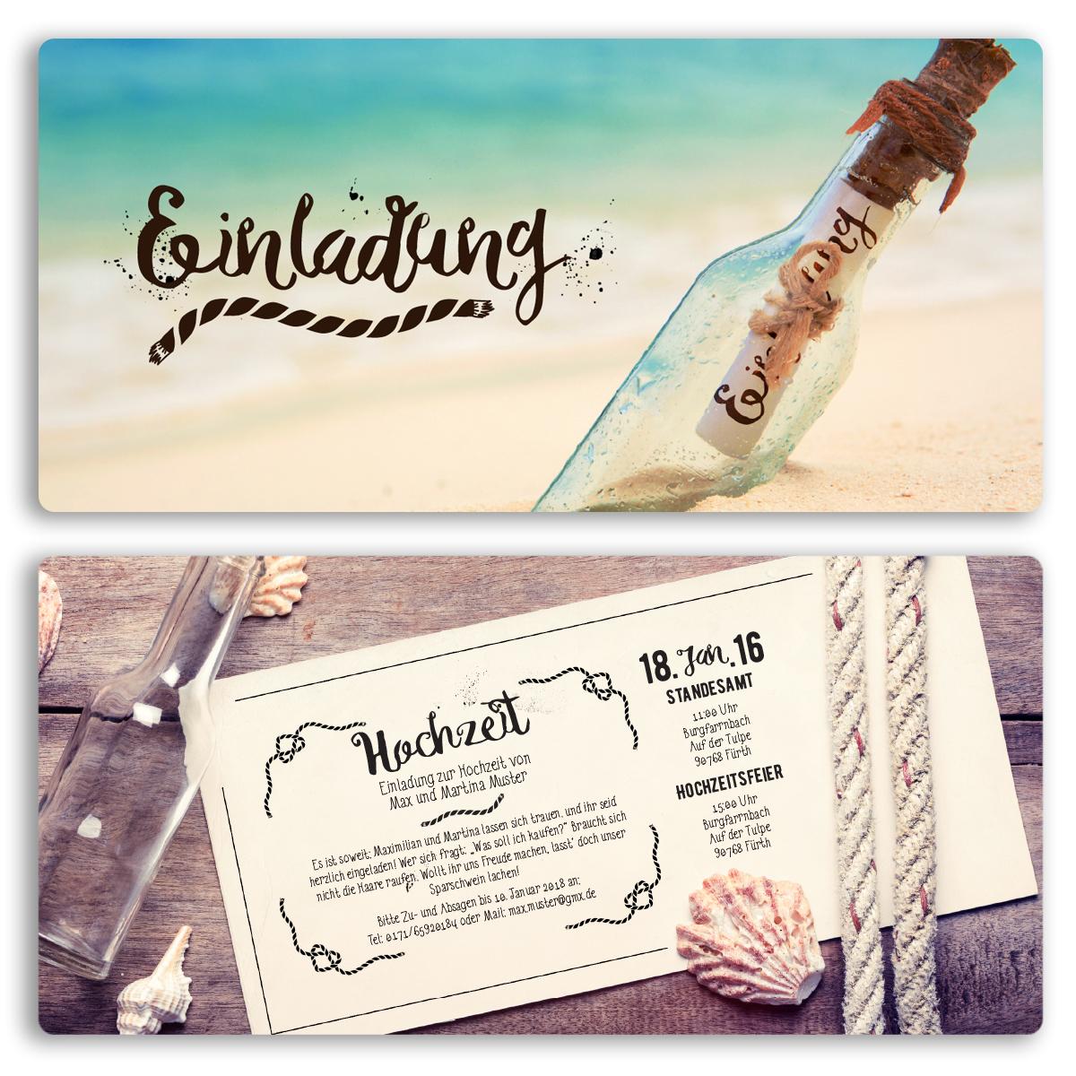 Einladungen Zur Hochzeit Flaschenpost Flasche Brief Post Karte Einladung  Feier