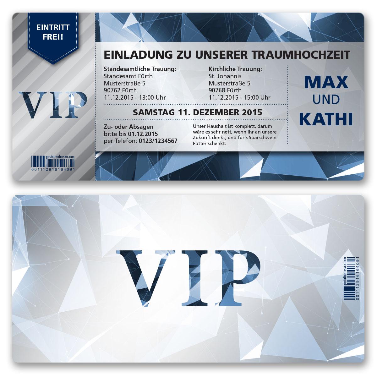 Einladungskarten Zur Hochzeit Als Eintrittskarte VIP Ticket Einladung Edel  Blau