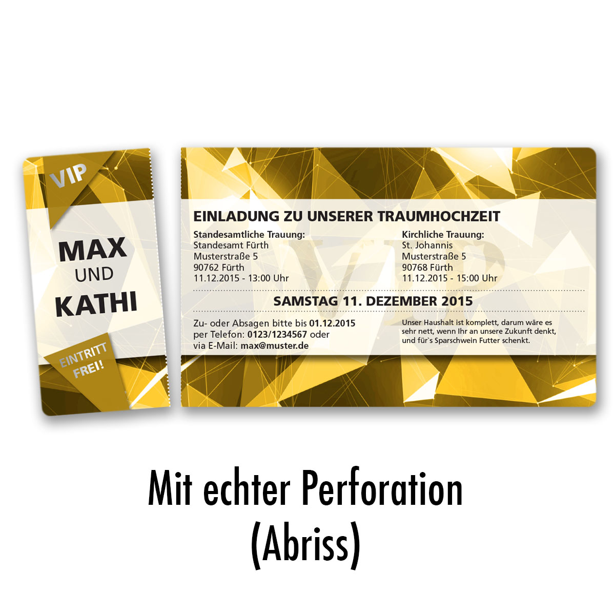 Einladungskarten Zur Hochzeit Als Eintrittskarte VIP Ticket Einladung Edel  Gold