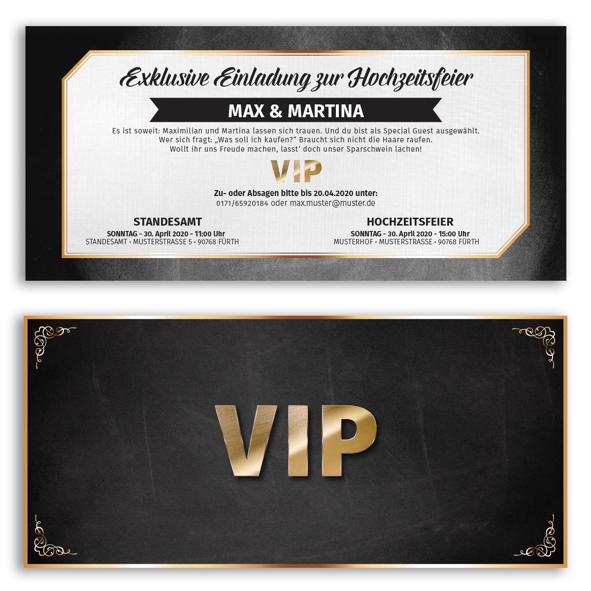 Einladungskarten Zur Hochzeit Als Vip Karte Ticket Einladung Edel Ebay