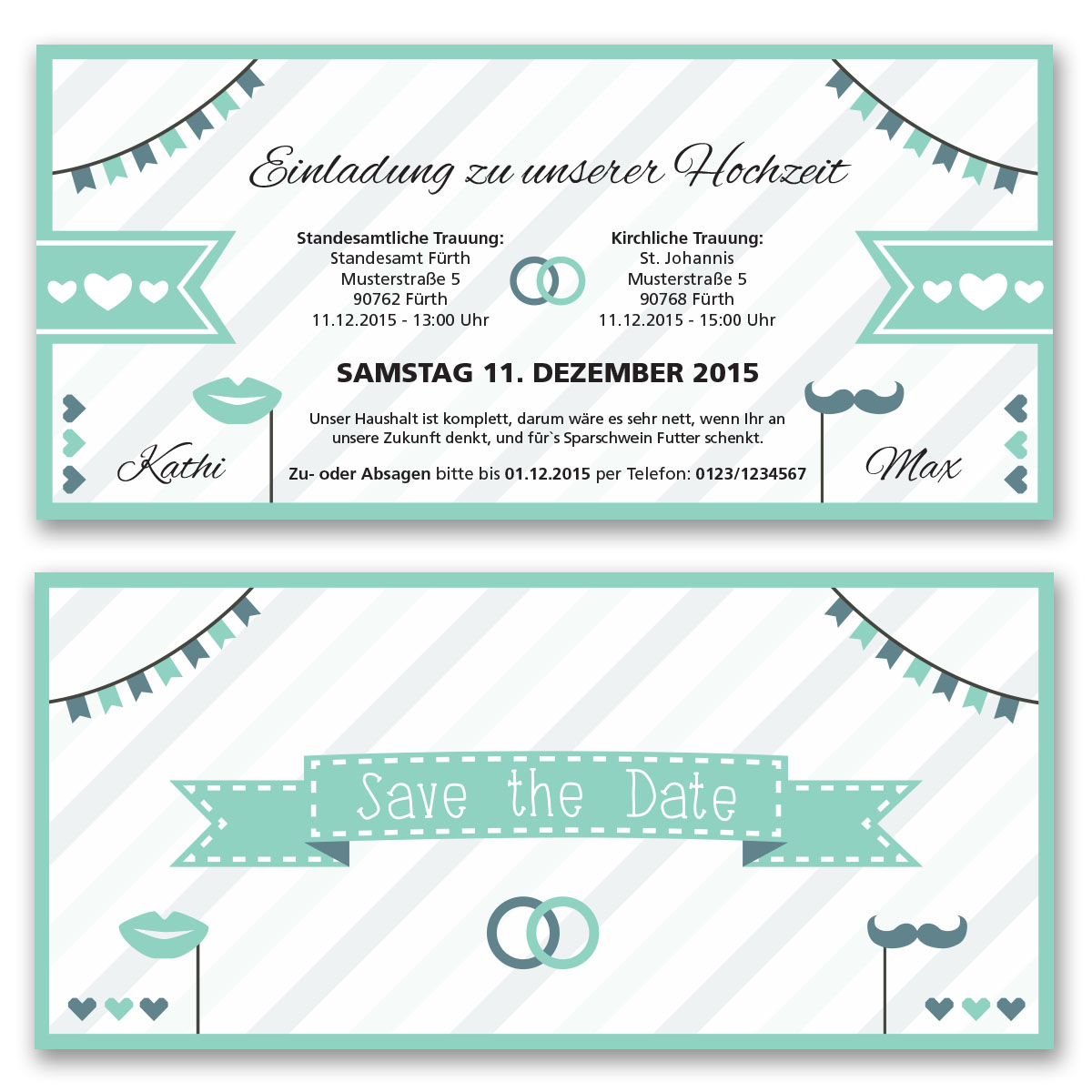Einladungskarten Zur Hochzeit Als Eintrittskarte Ticket Einladung Edel Mint