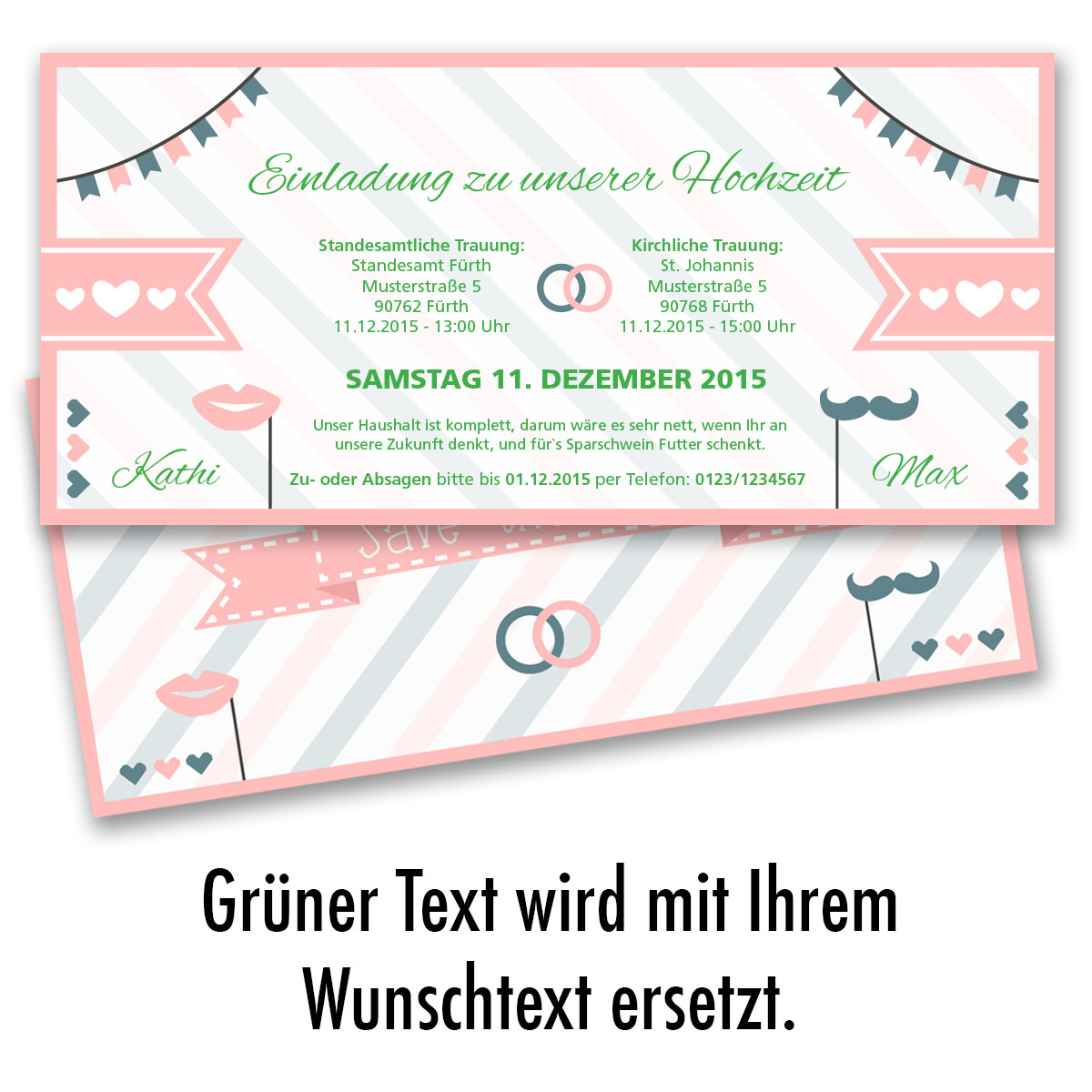 Einladungskarten Zur Hochzeit Als Eintrittskarte Ticket Einladung Edel Pink